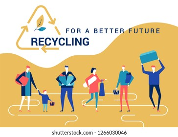 Recycling for a better future - flat design style colorful banner. High quality composition with people, volunteers carrying packets, containers, trash bags, going to sort waste. Eco lifestyle concept