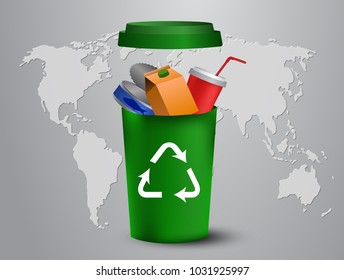 recycling bins illustration