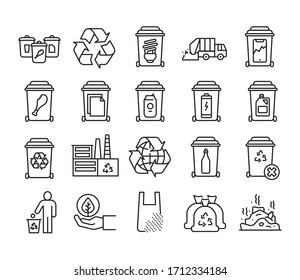 Recycling black line icons set. Garbage sorting. Zero waste lifestyle. Pictograms for web page, mobile app, promo.