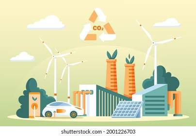 Recycling carbon dioxide concept. Renewable methanol alternative energy. Ecological CO2 consumption for fiber technology production. Nature friendly and clean fuel substitute. Flat vector illustration