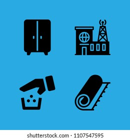 recycling, carpet, building and closet icons vector in sample icon set for web and graphic design
