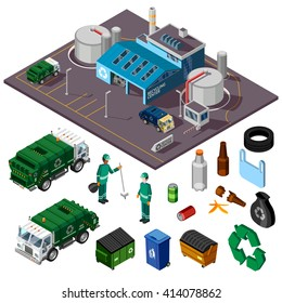 Recycling center isometric design concept with trucks garbage cleaners and elements for collecting and sorting trash vector illustration