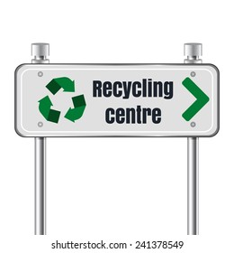 Recycling center road pointer. Vector illustration