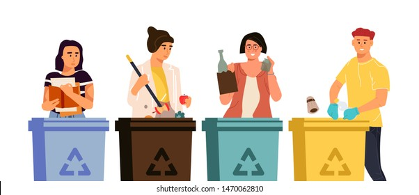 Recycling characters. Cartoon men and women putting trash in different containers, garbage sorting concept. Vector illustrations global eco recycling waste