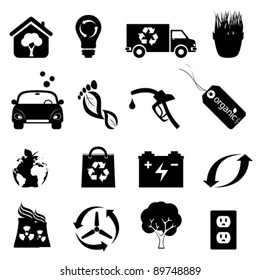 Recycling, clean energy and environment icons