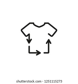 Recycling clothes line icon. Tshirt, textile, garment. Laundry concept. Vector illustration can be used for topics like ecology, sustainability, environment