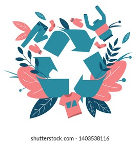 Recycling clothes. Zero waste symbol. Old clothing recycling. Item receiving clothes. Recycling sign. Flat vector illustrations