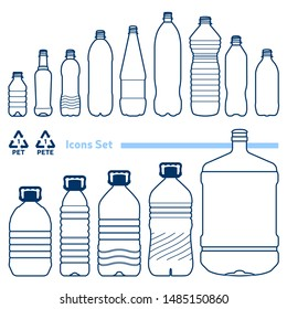 Recycling code 1 (PET - Polyethylene terephthalate) outline icons set. Empty clear plastic bottles on white background.