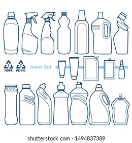 Recycling code 2 (HDPE - High-density polyethylene) outline icons set. Empty clear plastic bottles, tubes & doypacks on white background.