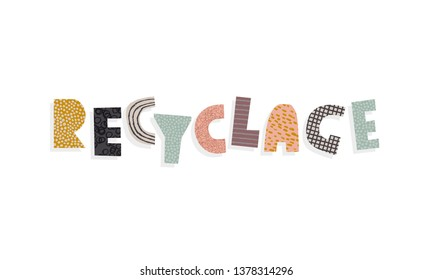 recycling collage vector sign for banner with french text