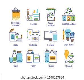 Recycling color line icon. line color icon. Garbage sorting. Zero waste lifestyle. Eco friendly. Sign for web page, app. UI/UX/GUI design element. Editable stroke.