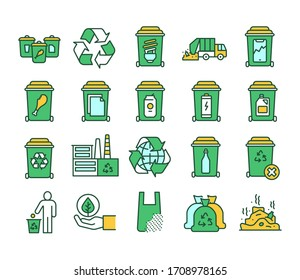 Recycling color line icons set. Garbage sorting. Zero waste lifestyle. Pictograms for web page, mobile app, promo.