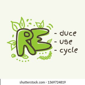 Recycling concept with 3R text, reduce, reuse , recycle lettering. Doodle vector illustration