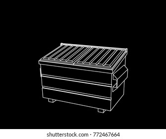 Recycling dumpster. Isolated on black background. Vector outline illustration.