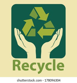 recycling ecological, environmental protection concept. recycle design in green colors. vector illustration.