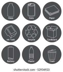 RECYCLING ELEMENTS ICONS AND SYMBOLS. For your ecological projects, print, web, blog. Design elements such as logos.
