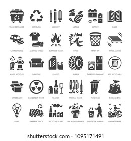 Recycling flat glyph icons. Pollution, recycle plant. Garbage sorting types - paper, glass, plastic, metal, flammable trash. Thin linear signs waste management. Solid silhouette pixel perfect 64x64.