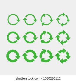 Recycling flat vector icons set. Arrows flat vector icons set