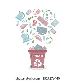 Recycling garbage bags. E-Waste separate cans recycling. Sorting garbage concept. Colorful trash cans. Segregate waste, sorting garbage, waste management.