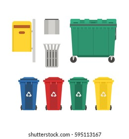 Recycling and garbage cans collection. City trashcan set with wheeled dumpster or trash container, recycle bins and waste basket.