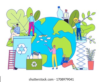 Recycling garbage concept, tiny people cartoon characters cleaning Earth, vector illustration. Environment activist volunteer, smiling men and women clean planet together. Plastic trash in world ocean