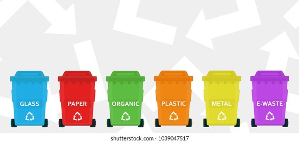 Recycling garbage elements isolated on white background. Trash bags. Utilize waste can. Color plastic containers. Ecology and recycle. Simple cartoon design. Flat style vector illustration.