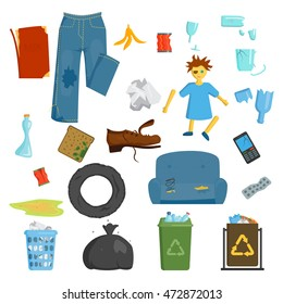 Recycling and garbage elements trash bags