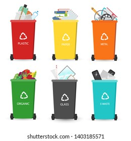 Recycling garbage elements trash cans.Different types of trash cans.Vector illustration.