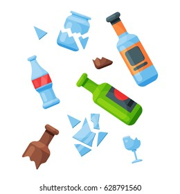 Recycling garbage glass trash bag tires management industry utilize waste can vector illustration.