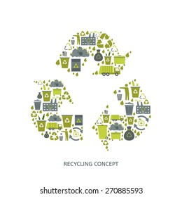 Recycling garbage icons concept. Waste utilization. Vector illustration