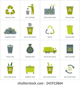 Recycling garbage icons set. Waste utilization. Vector illustration.