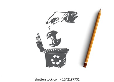 Recycling, garbage, organic waste, ecology concept. Hand drawn person throws food waste in special container concept sketch. Isolated vector illustration.