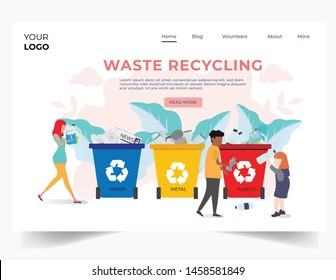 Recycling garbage People sorting each type of garbage into the trash. Recycle for save the earth and keep environment plastic recycling.can use for template cover website advertising.