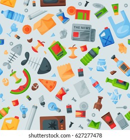 Recycling garbage seamless pattern trash bags can bottle recycling disposal box vector illustration.