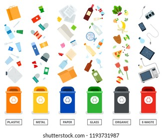 Recycling garbage separation collection and recycled vector icons. Trash in garbage cans with sorted garbage isolated on white background