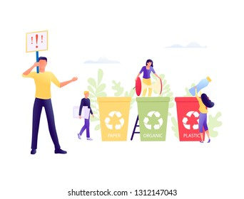 Recycling garbage - small people throw garbage in containers. The employee is engaged in sorting garbage waste. Environmental protection, ecology, earth day. Flat concept vector illustration