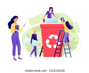 Recycling garbage - small people throw garbage in container. The employee is engaged in recycling, business analysis. Environmental protection, ecology, earth day. Flat concept vector illustration
