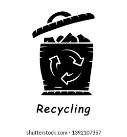 Recycling glyph icon. Environmental sustainability. Trash sorting. Plastic, paper garbage utilization. Waste recycling. Trashcan. Silhouette symbol. Negative space. Vector isolated illustration