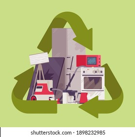 Recycling green symbol for piled electrical appliances. Environment care for broken household devices trash, domestic waste materials, junk, rubbish large heap. Vector flat style cartoon illustration