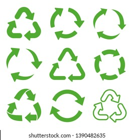 Recycling icon collection. Vector illustration