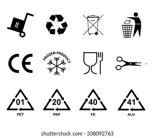 Recycling icon. Recycling: plastic, aluminum, iron, paper. Frozen food. European conformity. Waste recycling.
