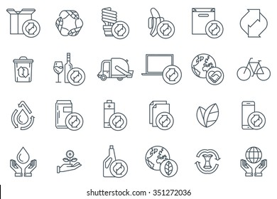 Recycling icon set suitable for info graphics, websites and print media. Black and white flat line icons.