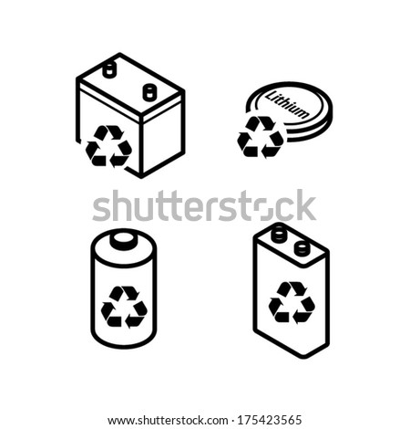 Recycling Icons Dry Cell Battery Lead Stock Vector Royalty Free