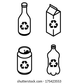 Recycling icons - glass bottle, paper carton, soda drink can, PET bottle.
