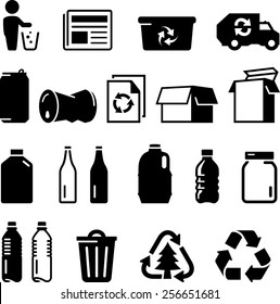 Recycling icons including paper, glass, aluminum, cardboard and plastic.