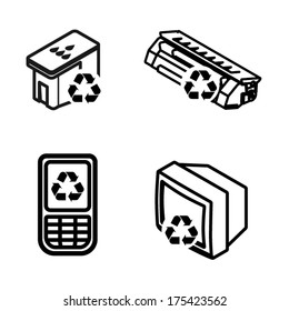 Recycling icons - printer ink cartridge, toner cartridge, mobile/cellular phone, and old tv/electronics.