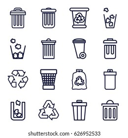 Recycling icons set. set of 16 recycling outline icons such as trash bin, recycle bin, trash bag