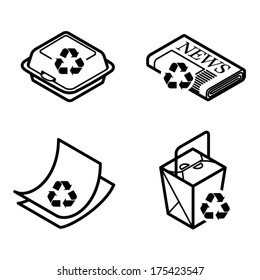 Recycling icons - takeaway container, newspaper, paper, and cartons.
