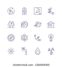 Recycling line icon set. Forest, car charge station, water resource. Ecology concept. Can be used for topics like environment protection, sustainable development, alternative fuel