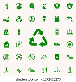 recycling mark green icon. greenpeace icons universal set for web and mobile